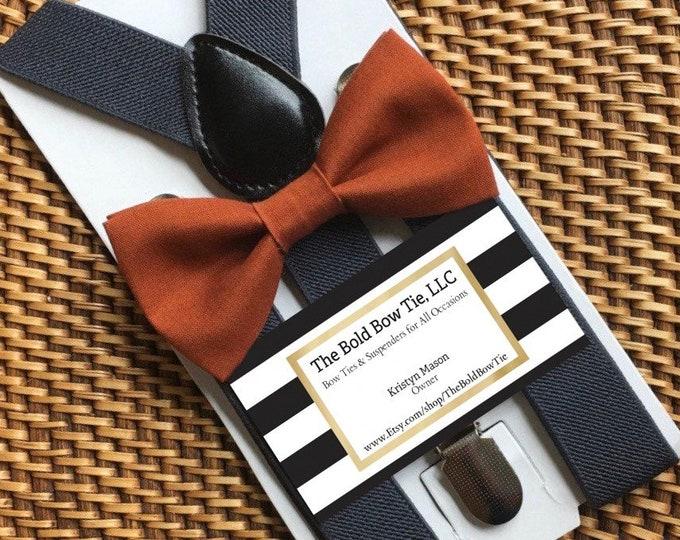 Burnt Orange Bow Tie, Men's Bow Tie, Ring Bearer Outfit, Baby Bow Tie, Orange Bow Tie, Toddler Bow Tie, Dark Orange Bow Tie, Grey Suspenders