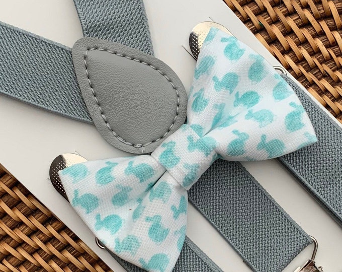 Easter Bow Tie, Easter Outfit, Bunny Rabbit Bow Tie, Easter Bunny Bow Tie, Bow Tie, Bow Tie for Men, Boys, Girls, Baby, Toddlers, Suspenders