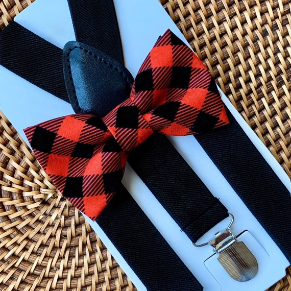 Buffalo Plaid Bow Tie, Buffalo Check Bow Tie, Red Bow Tie, Christmas Outfit, Boys Bow Tie, Bow Tie, Suspenders, Toddler Suspenders, Bow Tie