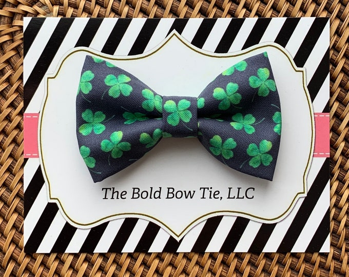 St. Patrick's Day Dog Bow Tie, Green & Navy Bow Tie for Dogs, Cats, Pets, Green Clover Dog Bow Tie, Dog Bow Tie, Dog Accessories, Dog Gift