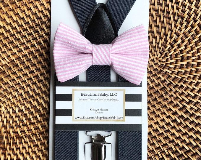 Pink Seersucker Bow Tie, Striped Bow Tie, Easter Bow Tie, Pink Bow Tie, Baby Bow Tie, Toddler Bow Tie, Grey Suspenders, Seersucker Bow Tie