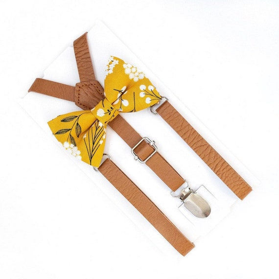 Mustard Bow Tie & Leather Suspenders, Floral Bow Tie, Baby Bow Tie, Bowtie, Mens Bow Tie, Wedding Suspenders, Ring Bearer Outfit
