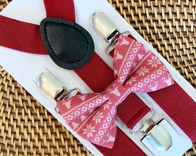 Christmas Bow Tie & Burgundy Suspenders, Bow Tie, Boys Bow Tie, Toddler Bow Tie, Baby Bow Tie, Bow Ties, Bow Ties for Men, Christmas Photos