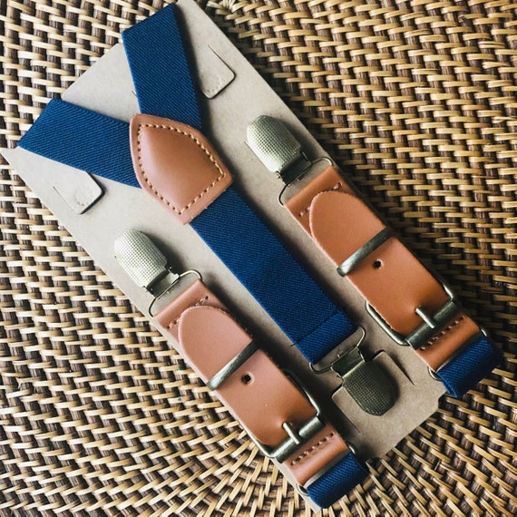 Leather Buckle Suspenders, Navy Ring Bearer Outfit, Page Boy Outfits, Groomsmen, Birthday and Cake Smash, Weddings