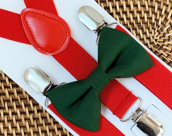 Green Christmas Bow Tie for Men, Baby, Boys, Toddler, Red Suspenders, 1st Christmas Outfit, Christmas Wedding, Party, Photos, ALL SIZES