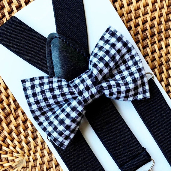 Black Bow Tie, Black Suspenders, Ring Bearer Outfit, Houndstooth Bow Tie, Boys Suspenders, Mens Bow Tie, Baby Bow tie, Toddler Bow Ties