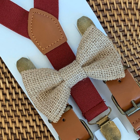 Burlap Bow Tie and Burgundy Suspenders, Rustic Wedding, Ring Bearer Outfit, Burlap Mens Bow Tie, Toddler Bow Tie, Burlap Wedding Bow Tie