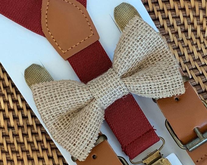 Burlap Bow Tie and Burgundy Suspenders, Rustic Wedding, Ring Bearer Outfit, Burlap Mens Bow Tie, Toddler Bow Tie, Burlap Wedding Bow Tie