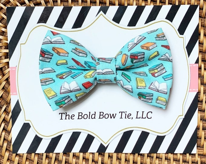 Dog Bow Tie with Books, Cat Bow Tie, Teacher Gift, Dog Mom Gift, Pet Gifts, Gifts for Dog Lovers, Dog Bowtie, Dog Gifts, Book Lover Gift