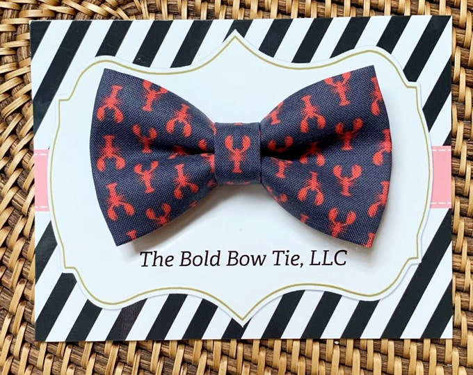 Nautical Lobster Dog Bow Tie, Summer Dog Bow Tie, Dog Mom Gift, Pet Gifts, Gifts for Dog Lovers, Dog Bowtie, Dog Gifts
