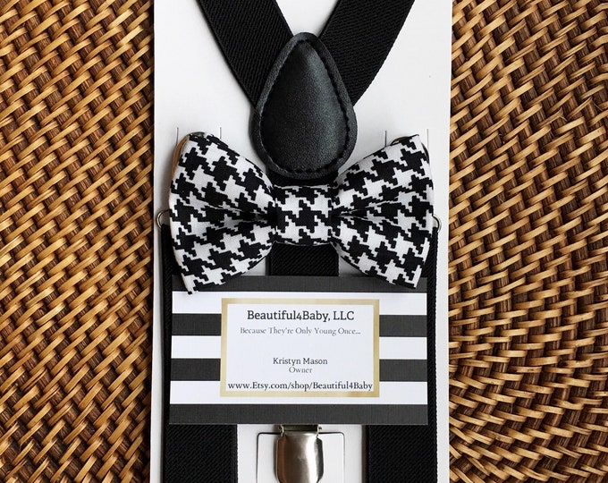 Black Bow Tie & Black Suspenders, Ring Bearer Outfit, Houndstooth Bow Tie, Boys Suspenders, Mens Bow Tie, Baby Bow tie, Toddler Bow Ties