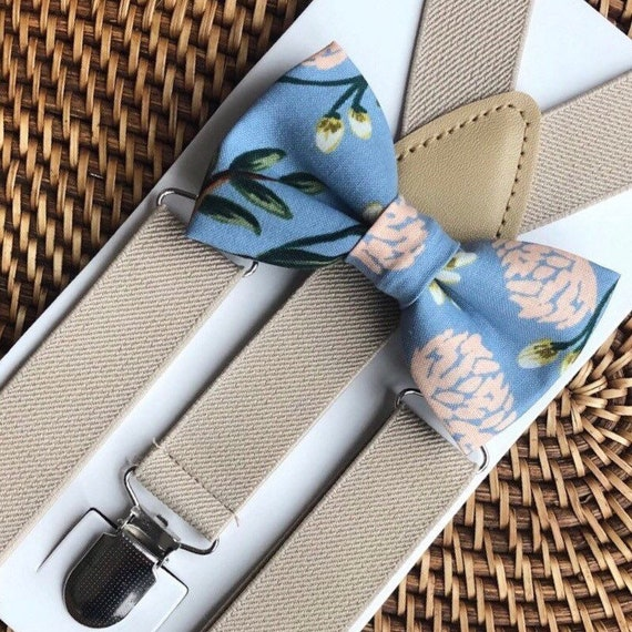 Bow Tie & Suspenders, Dusty Blue Bow Tie, Floral Bow Tie, Khaki Suspenders, Wedding Suspenders, Ring Bearer Outfit,  Wedding Suspenders