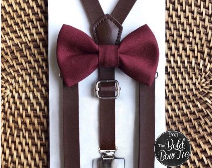 Burgundy Bow Tie & Leather Suspenders, Burgundy Bow Tie, Wedding Suspenders, Bow Ties, Mens Burgundy Bow Tie, Ring Bearer Outfit, Suspenders