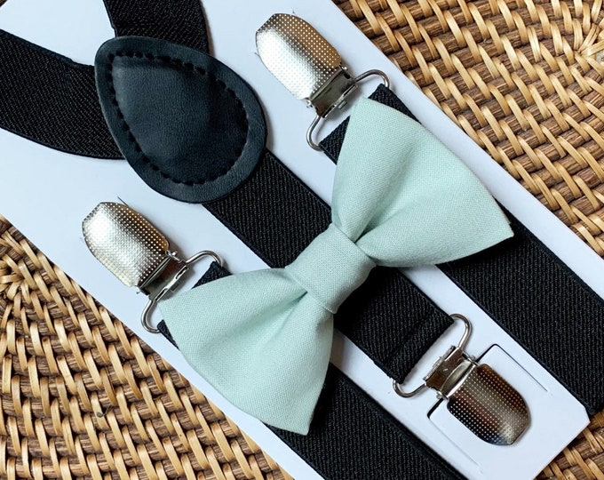 Sage Green Bow Tie & BlackSuspenders, Easter Bow Tie, Wedding,Green Bow Tie, Ring Bearer Outfit, Bow Ties, Bow Ties for Men, Boys, Groomsmen