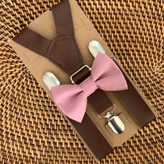 Dusty Rose Bow Tie & Leather Suspenders, Mauve Bow Tie, Mens Bow Tie, Boys Bow Tie, Ring Bearer Outfit, Groomsmen Bow Tie, Wedding, Bow Ties