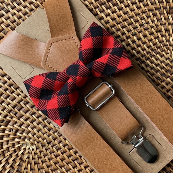 Buffalo Plaid Bow Tie & Leather Suspenders Red Bow Tie Christmas Outfit  Christmas Bow Tie  Ring Bearer Outfit Christmas Photos Bow Ties