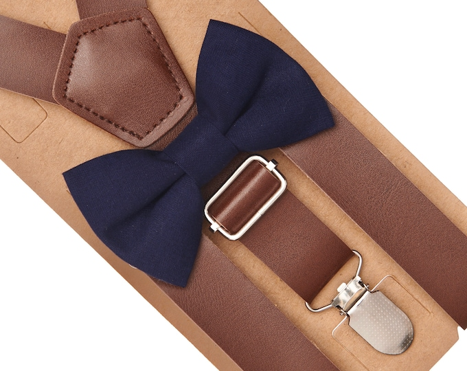 Navy Bow Tie & Leather Suspenders, Leather Suspenders, Wedding Suspenders, Ring Bearer Outfit, Navy Ring Bearer Outfit, Boys Bow Tie