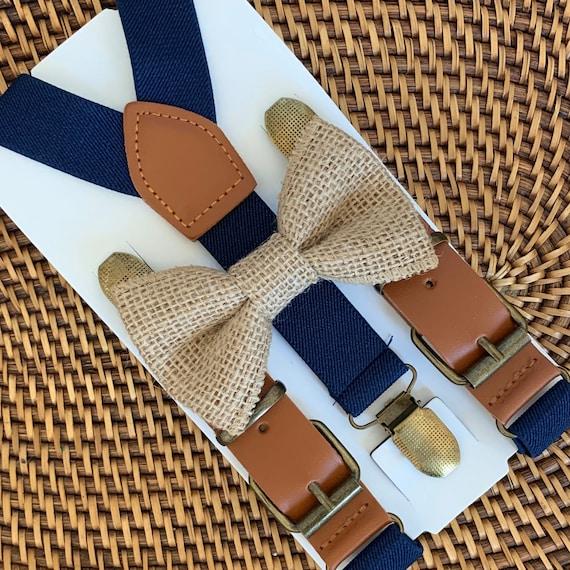 Rustic Burlap Bow Tie, Navy Blue Suspenders, Rustic Wedding, Groomsmen Suspenders, Ring Bearer Outfit, Burlap Mens Bow Tie, Suspenders