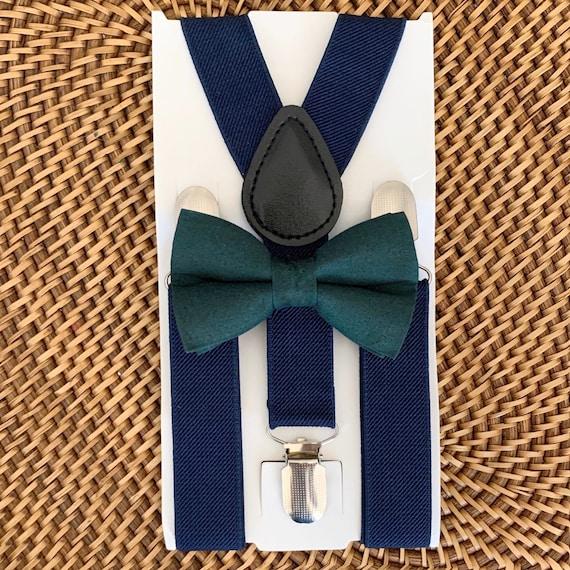 Hunter Green Bow Tie & Navy Blue Suspenders, Christmas Bow Tie, Christmas Outfit, Boys Bow Tie, Suspenders, Toddler Suspenders, Baby Bow Tie