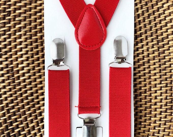 Red Suspenders, Groomsmen Suspenders, Wedding Suspenders, Ring Bearer Outfit, Mens Suspenders, Boy Suspenders, 1st Birthday Outfit