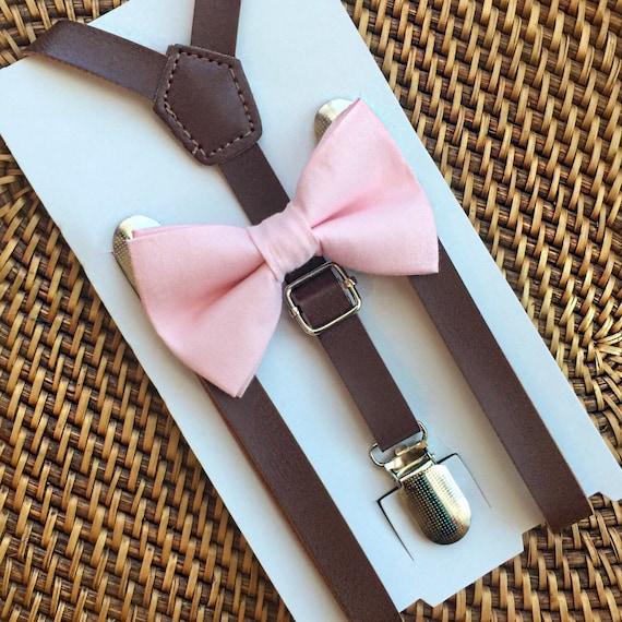 Blush Bow Tie & Leather Suspenders Blush Pink Bow Tie Rustic Wedding Groomsmen Suspenders Brown Suspenders Pink Bow Tie Bow Ties Suspenders