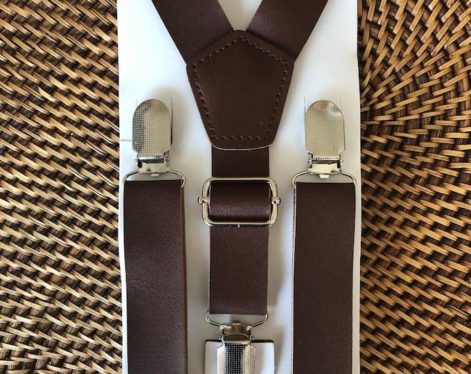 Leather Suspenders, Brown Leather Suspenders, Mens Suspenders, Groomsmen Suspenders,  Boys Suspenders, Rustic Suspenders, Rustic Wedding