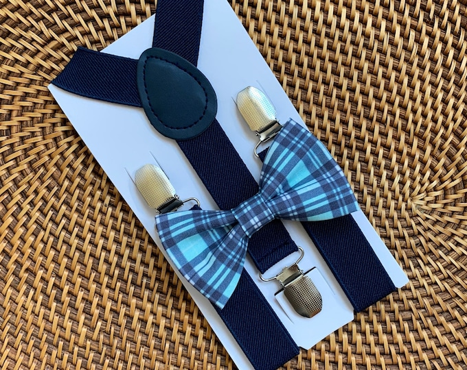 Easter Plaid Bow Tie, Navy Bow Tie, Navy Plaid Bow Tie, Easter Outfit, Bow Tie for Men, Boys, Girls, Baby, Toddlers, Easter Bow Ties