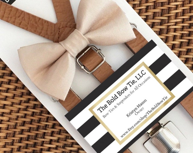Champagne Bow Tie & Leather Suspenders, Beach Wedding, Toddler Bow Tie, Wedding Suspenders, Suspenders, Boys Bow Ties, Ring Bearer Outfit