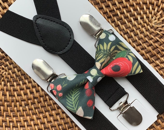Red & Green Floral Bow Tie and Black Suspenders --PERFECT for Holiday, Christmas Outfit, Baby's 1st Christmas, Toddler, ALL SIZES