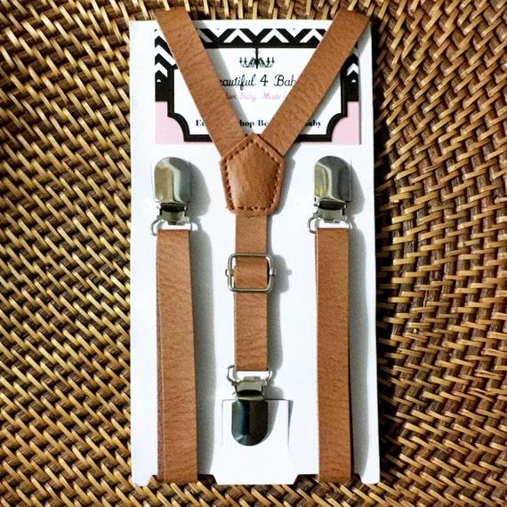Leather Suspenders, Mens Suspenders, Cognac Suspenders, Brown Suspenders, Rustic Wedding Suspenders, Toddler Suspenders, Wedding Suspenders