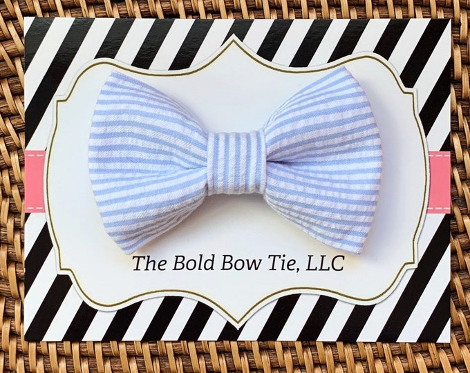Easter Dog Bow Tie, Light Blue Seersucker Bow Tie for Dogs, Cats, Pets, Bowtie, Nerd Bow Ties, Dog Lover Gift, Dog Accessories, Dog Gift