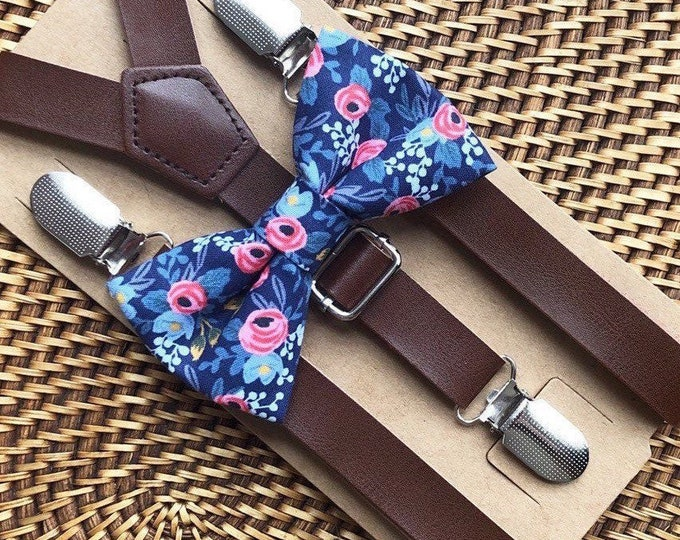 Bow Tie & Suspenders, Blue Bow Tie, Navy Blue  Floral Bow Tie Leather Suspenders Boho Wedding Ring Bearer Outfit Baby Mens Bow Tie