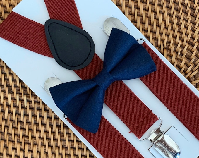 Navy Bow Tie, Wine Suspenders, Wedding, Marsala Suspenders, Boys Bow Tie Set, Ring Bearer Outfit, Bow Tie & Suspenders Set, Baby Suspenders