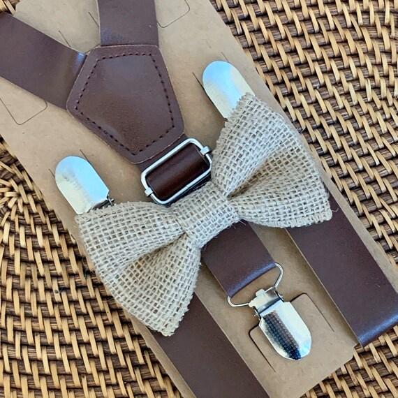 Rustic Burlap Bow Tie & Leather Suspender Set Burlap Ring Bearer Bow Tie Burlap Toddler Bow Tie Burlap Wedding Rustic Wedding Suspenders
