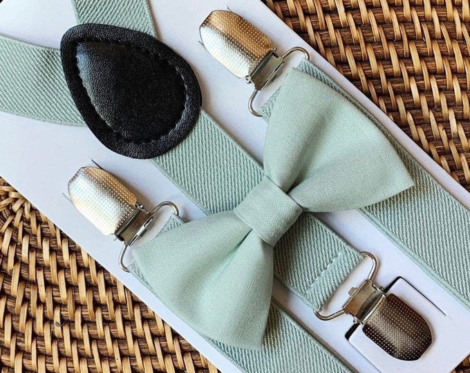 Sage Green Bow Tie & Sage Suspenders, Beach Wedding, Green Bow Tie, Ring Bearer Outfit, Bow Ties, Bow Ties for Men, Boys- Great Gift Idea!
