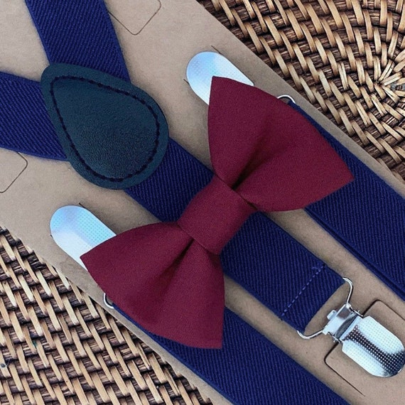 Marsala Bow Tie and Navy Blue Suspender Set, Ring Bearer or Page Boy Outfit, Groomsmen, Birthday, Wedding, Cake Smash, Wedding, Bow Ties