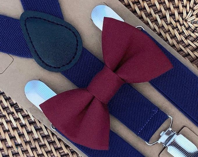 Wine Bow Tie & Navy Blue Suspenders, Burgundy Bow Tie, Maroon Bow Tie, Ring Bearer Outfit, Navy Suspenders, Marsala Bow Tie, Bow Ties