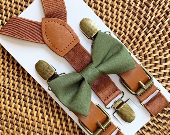 Olive Green Bow Tie & Vegan Leather Suspenders, Rustic Wedding, Boho Wedding, Mens Bow Ties, Ring Bearer Outfit, Boys Bow Ties, ALL SIZES