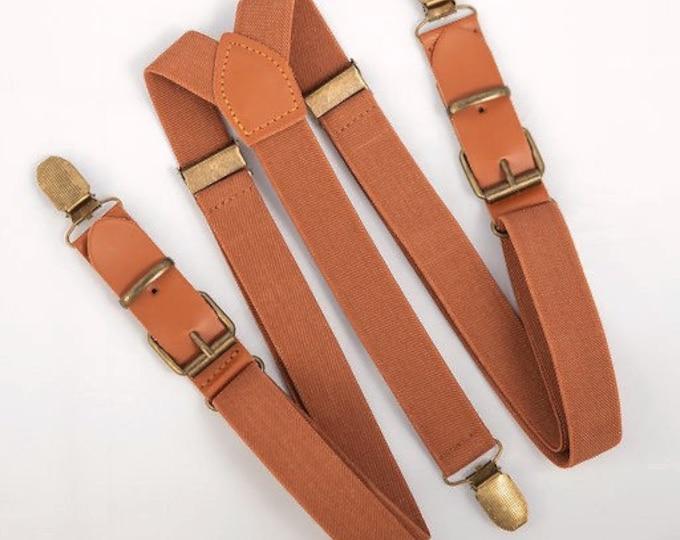 Leather Suspenders, Brown Suspenders, Buckle Suspenders, Ring Bearer Outfit, Wedding Suspenders, Groomsmen Suspenders, Mens Suspenders