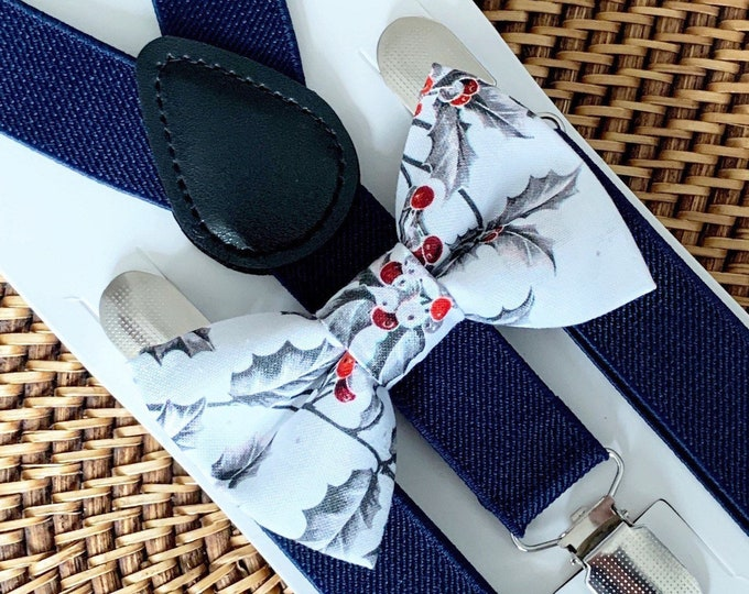 Christmas Bow Tie & Navy Blue Suspenders Christmas Outfit Boys Bow Tie Baby Bow Tie Suspenders Toddler Suspenders Holiday Bow Tie