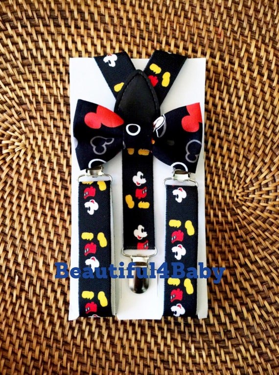 Mickey Mouse Bow Tie & Mickey Mouse Suspenders, Disney Wedding, first birthday, Disney Bow Tie, Bow Ties, Mickey Mouse Party, 1st birthday