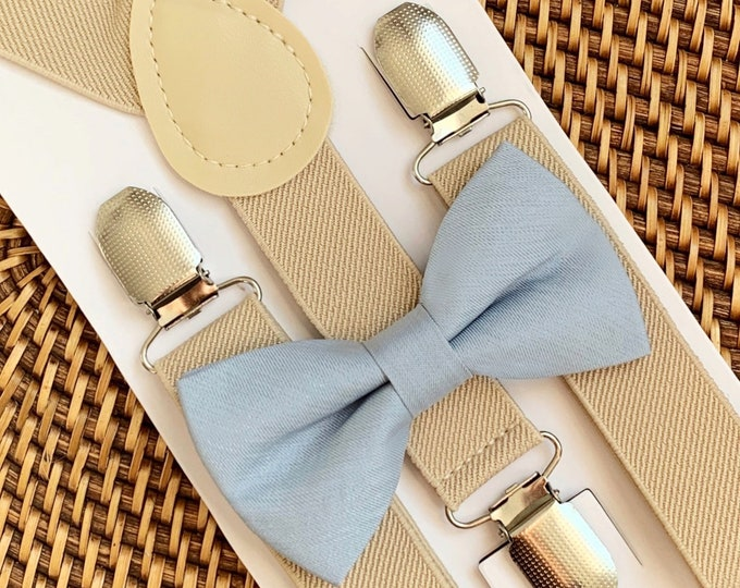 Dusty Blue Bow Tie & Tan Suspenders, Beach Wedding, Ring Bearer Outfit, Bow Ties for Men, Wedding, Bow Tie, Groomsmen, All Sizes