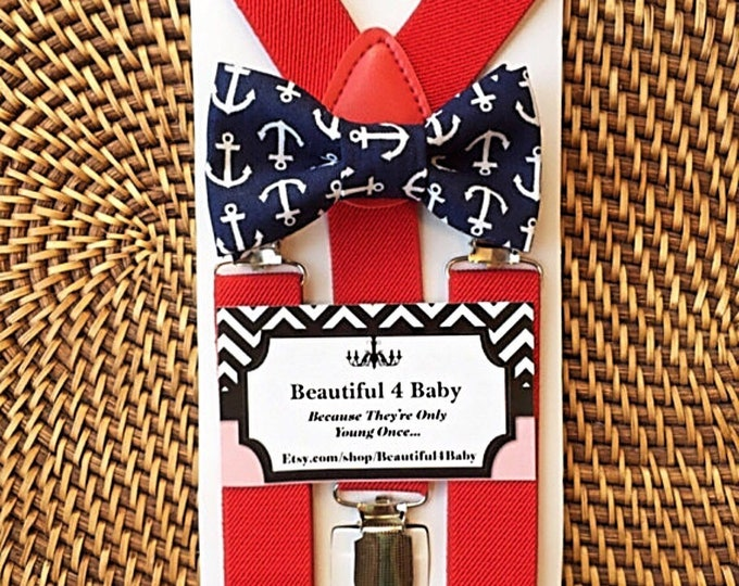 Anchor Bow Tie & Red Suspenders, Beach Wedding, Ring Bearer Outfit, Mens Bow Ties, Suspenders, Little Boy Bow Tie, Fourth of July