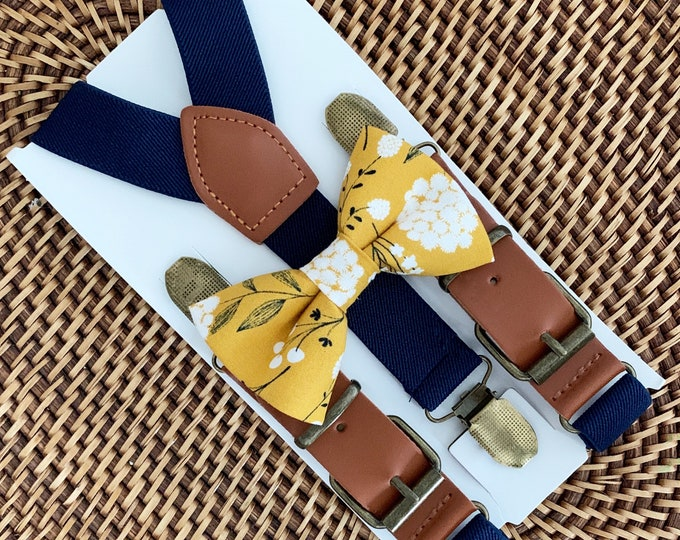 Mustard Floral Bow Tie & Navy Blue Suspenders Mustard Bow Tie Navy Suspenders Wedding Suspenders Ring Bearer Outfit Bow Tie Groomsmen