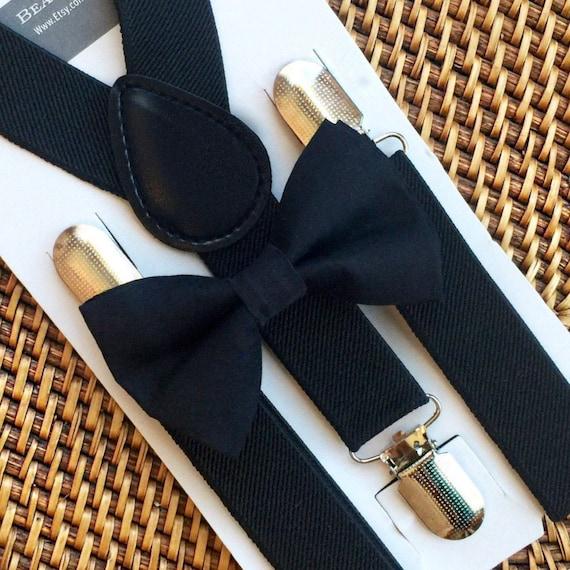 Black Bow Tie & Black Suspenders, Ring Bearer Outfit, Mens Bow Tie, Toddler Bow Tie, Kids Suspenders, Boys Bow Tie, Suspenders, Wedding