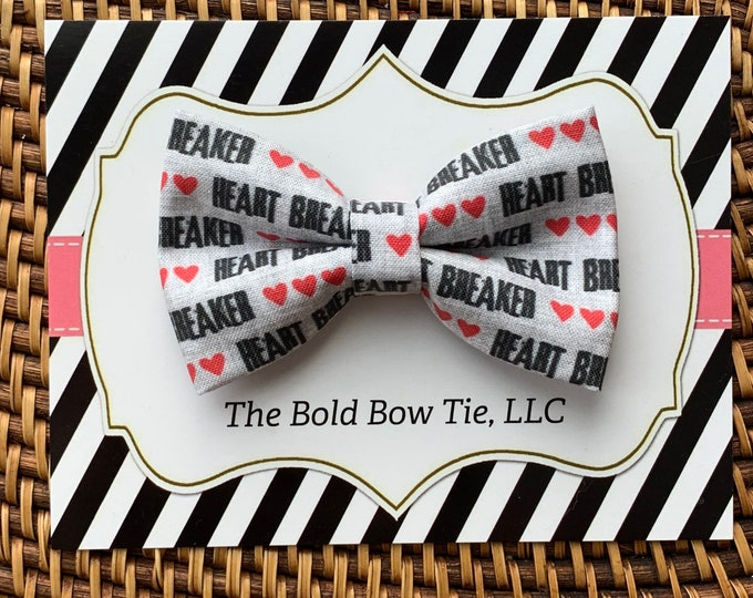 Heartbreaker Heart Dog Bow Tie, Grey & Red Valentine's Day Bow Tie for Dogs, Cats, Pets, Boy Dog Bow Tie, Dog Accessories, Dog Birthday Gift