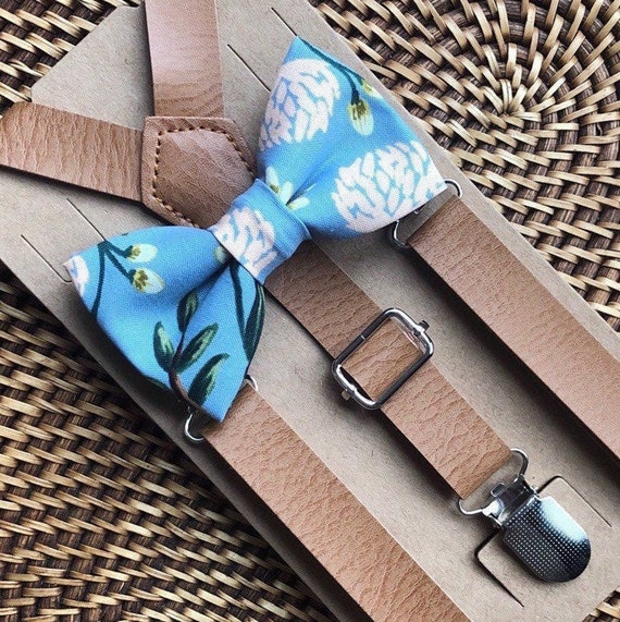 Bow Tie & Suspenders, Dusty Blue Bow Tie, Floral Bow Tie, Leather Suspenders, Boho Wedding, Ring Bearer Outfit, Bow Ties