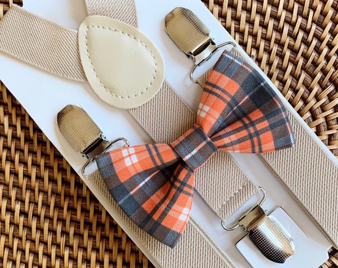 Orange Bow Tie and Suspenders- Perfect for a Thanksgiving Outfit, Halloween Party, Mens Bow Tie, Toddler Bow Tie, Halloween Costume