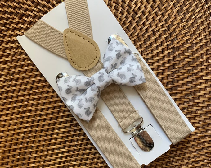 Easter Bow Tie, Bunny Rabbit Bow Tie, Easter Bunny Bow Tie, Grey Bow Tie, Bow Tie for Men, Boys, Girls, Baby, Toddlers, Gray Bunny Bow Tie