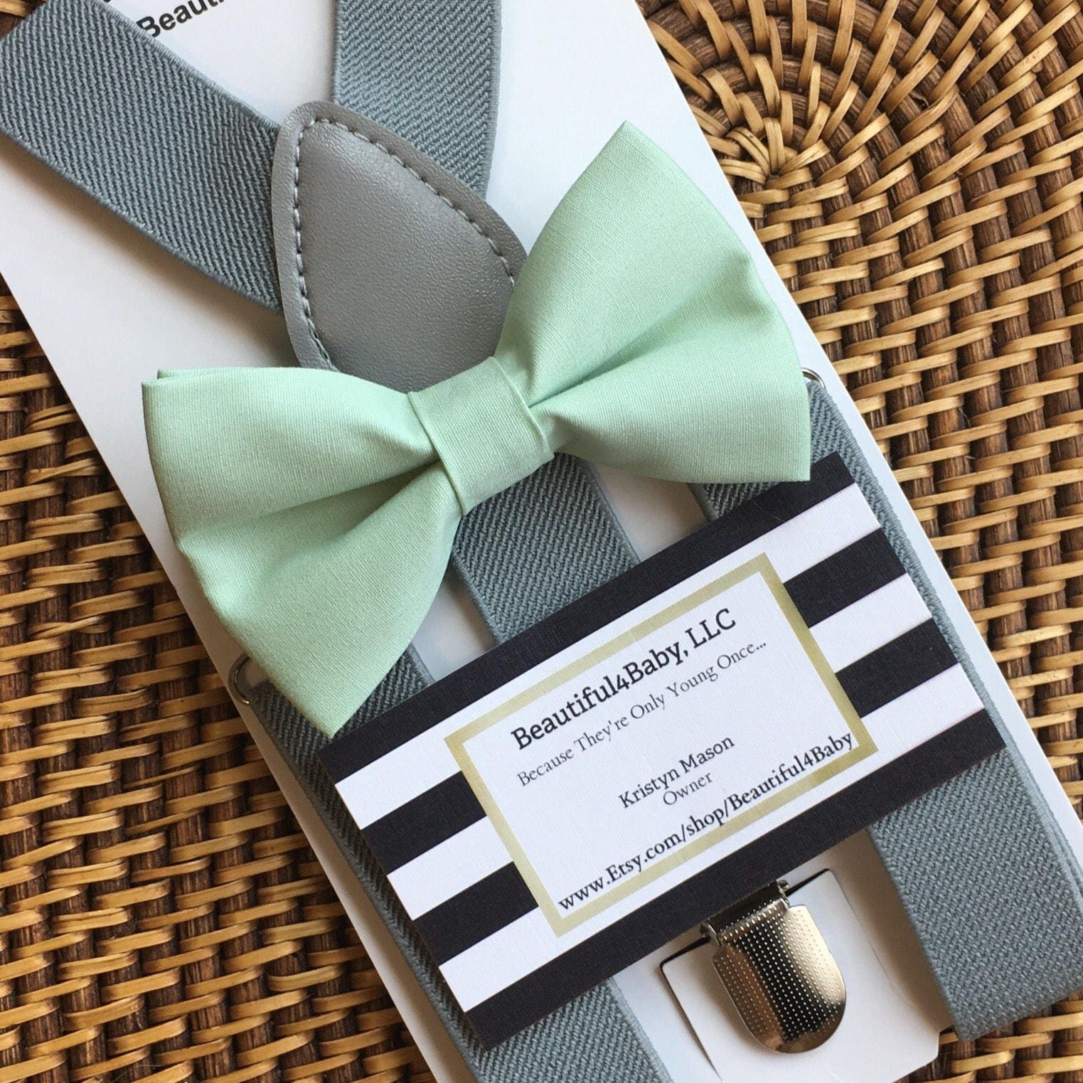 Mint Bow Tie & Grey Suspender Set, Mint Baby Bow Tie, Mint Toddler Bow Tie,  Boy Bow Ties, Ring Bearer Outfit, Mint Green Bow Ties, Bow Ties